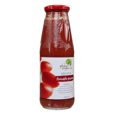 GLOBAL ORGANICS Organic Tomato Passata Puree Glass Jar 680g