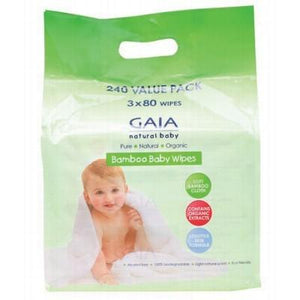 GAIA NATURAL BABY Organic Baby Wipes Bamboo Wipes - Value Pack 240