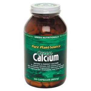 GREEN NUTRITIONALS Organic Green Calcium (Pure Plant Source) 240 Capsules (883mg)