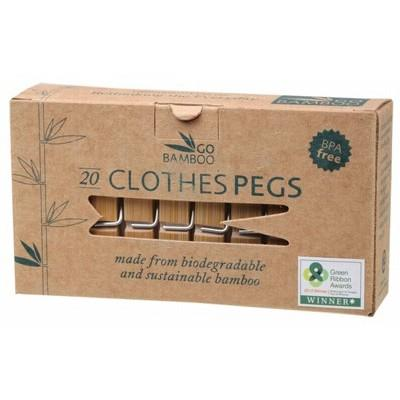 GO BAMBOO Clothes Pegs - Box of 20