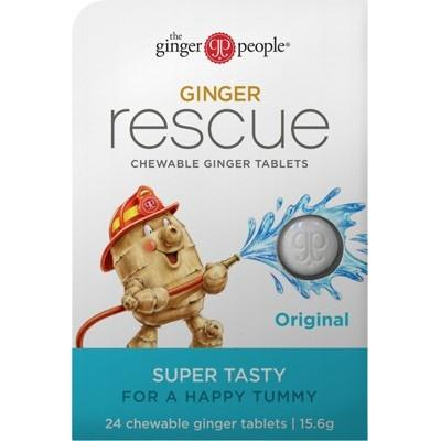 THE GINGER PEOPLE Ginger Rescue Chewable Tablets - Original 24tab