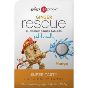 THE GINGER PEOPLE Ginger Rescue Chewable Tablets - Mango 24tab