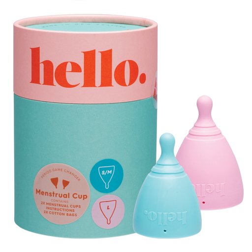 The Hello Cup Menstrual Cup - Double Box Blue+Blush