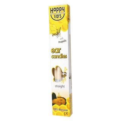 HAPPY EARS Ear Candles 100% Beeswax Pair of 2 - Straight Shape