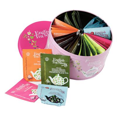 ENGLISH TEA SHOP Organic Premium Collection Round Gift Tin 30 Bags Inside
