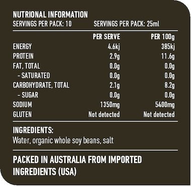 LOTUS Organic Tamari 250ml Nutritional Chart