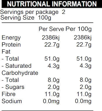 NATURE FIRST Organic Sunflower Kernels Seeds Nutritional Information
