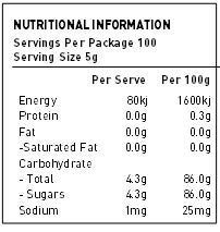 NATURE FIRST Organic Sugar Rapadura Nutritional Information