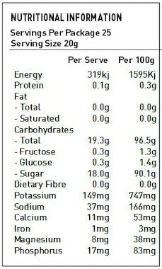 NATURE FIRST Organic Sugar Panela Nutritional Information