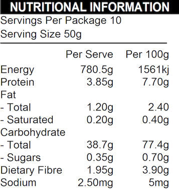 NATURE FIRST Organic Brown Rice Flour Nutritional Information