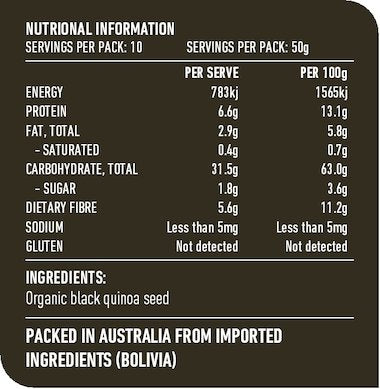LOTUS Organic Black Quinoa 500g Nutritional Information