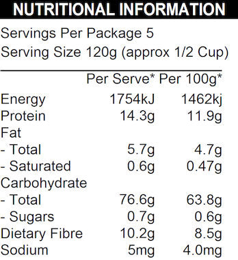 NATURE FIRST Organic Popcorn Kernels Nutritional Information
