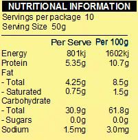 NATURE FIRST Organic Instant Oats 500g Nutritional Chart