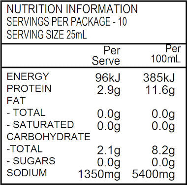 NATURE FIRST Organic Tamari Soy Sauce 250ml Nutritional Information