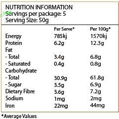 NATURE FIRST Organic Quinoa Flakes Nutritional Information