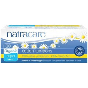 NATRACARE Organic Tampons - Super (Non-Applicator) - 20 Tampons