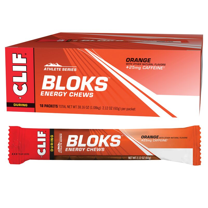 CLIF - Organic Energy Shot Bloks - Orange w 25mg Caffeine Box of 18