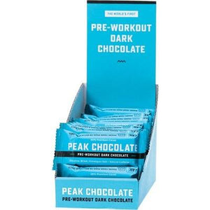 PEAK CHOCOLATE Pre-Workout Dark Chocolate Single Serve - Display box 20g