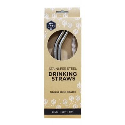 PRIMAL HEALTH PRODUCTS Stainless Steel Straws 2 Pack + Cleaning Brush
