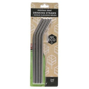 PRIMAL HEALTH PRODUCTS Stainless Steel Straws 4 Pack + Cleaning Brush - 4