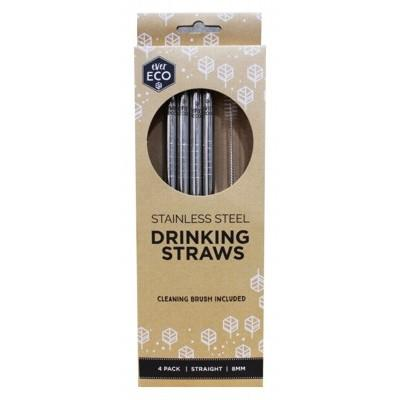 PRIMAL HEALTH PRODUCTS Stainless Steel Straws - Straight 8mm 4 Pack + Cleaning Brush