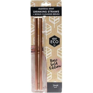 EVER ECO Stainless Steel Straws- Straight Rose Gold Edition 2