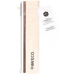 EVER ECO Stainless Steel Straw - Straight On-The-Go Straw Kit - Rose Gold 1