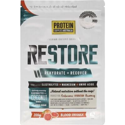 PROTEIN SUPPLIES AUST. Restore Hydration Recovery Drink Blood Orange 200g