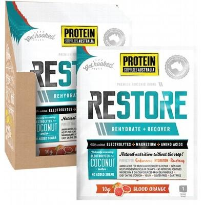 PROTEIN SUPPLIES AUST. Restore Hydration Recovery Drink Blood Orange 10g