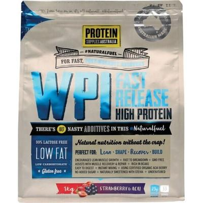 PROTEIN SUPPLIES AUST. WPI (Whey Protein Isolate) Strawberry & Acai 1kg