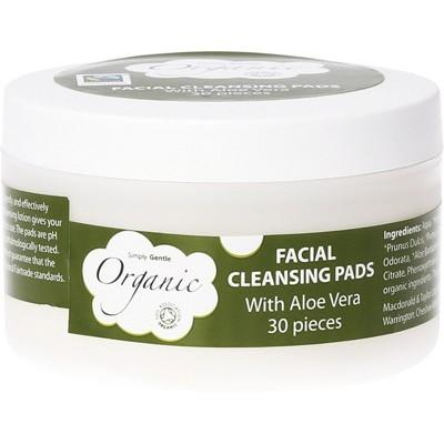 SIMPLY GENTLE ORGANIC 30 Facial Cleansing Pads (Make-up removal) With Organic Aloe Vera