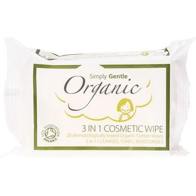 SIMPLY GENTLE ORGANIC 3 in 1 Cosmetic Wipe Cleanses, Tones, Moisturises 25