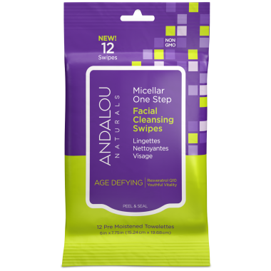 ANDALOU NATURALS Facial Cleansing Towelettes Age Defying Swipes 12