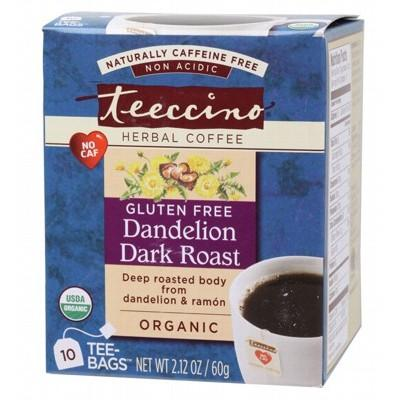 TEECCINO Organic Dandelion Dark Roast Herbal Coffee Bags - 10