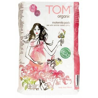 TOM ORGANIC Maternity Pads Ultra Absorbent for Post Birth 12 Pack