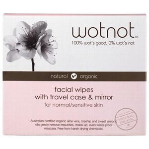 WOTNOT Organic Facial Wipes with Travel Case - 25 pcs