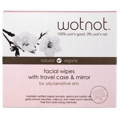 WOTNOT Organic Facial Wipes Oily + Sensitive Skin (with travel case) 25 Wipes