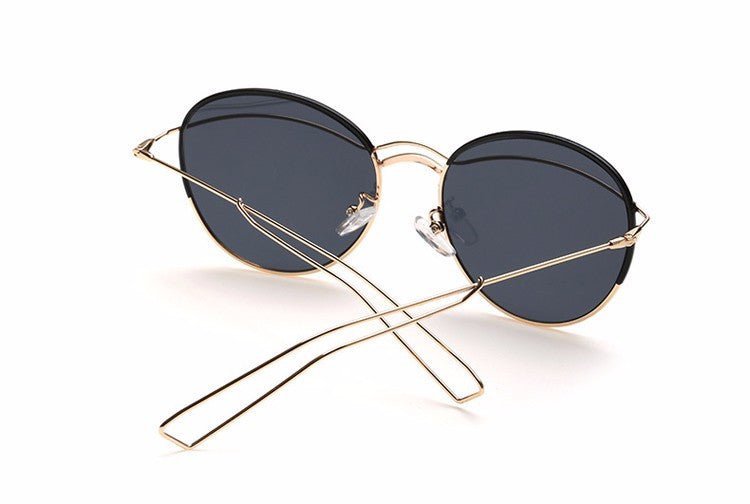 Women Reflective Metal Sunglass Frames -  Fashion Sun Glasses - 2246