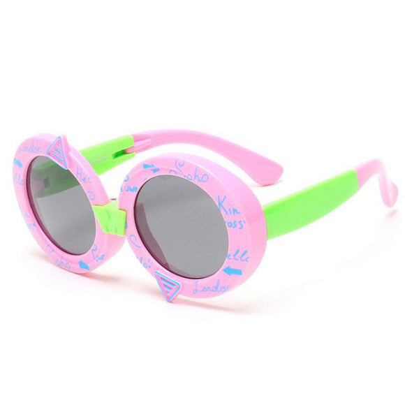 Kids Polarized Sunglasses - Girls / Boys Cute Graffiti UV400 Sunglasses - Round Frame Eyeglasses