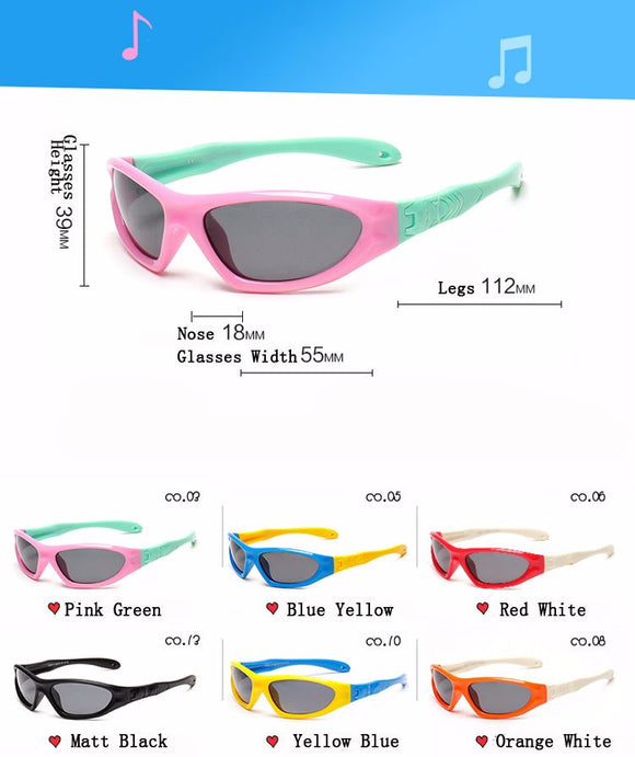 Kids Polarized Sunglasses - Boys / Girls Flexible TAC Frame Sunglasses - Anti UVA Child Eyewear 873