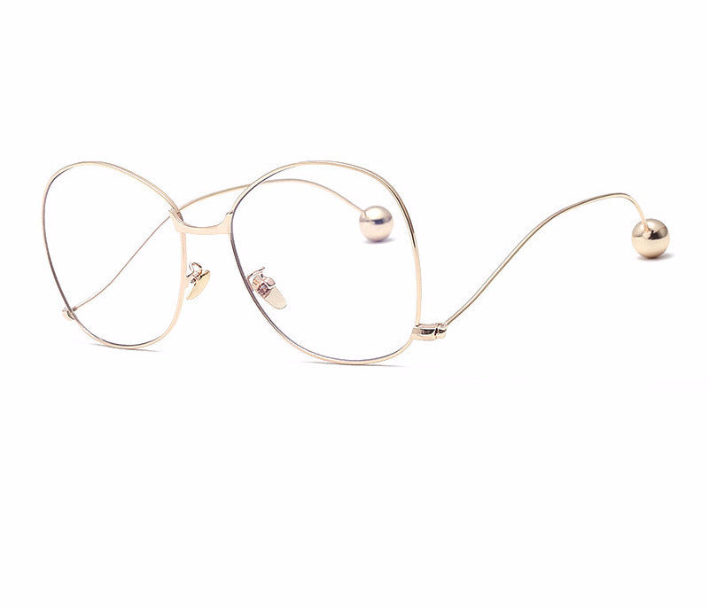 BZ / Round Metal Frame Eyeglasses - Anti Blue Ray Transparent ...