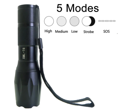 Image of Tactical Flashlight with Rechargeable Batteries, Battery Charger (Set of 2)