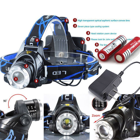 800LM CREE XM-L T6 Zoomable Focus LED Headlight +2x BATTERY & CHARGER