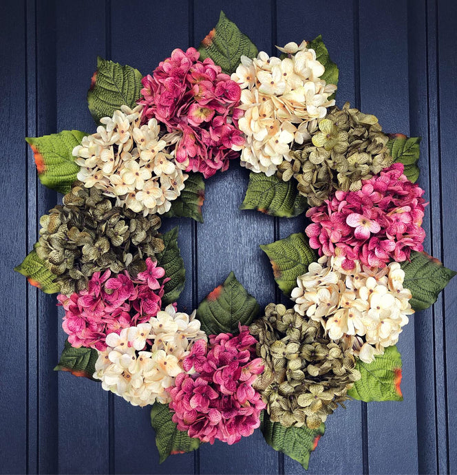 3 Colored Hydrangea Wreath (Made to Order)