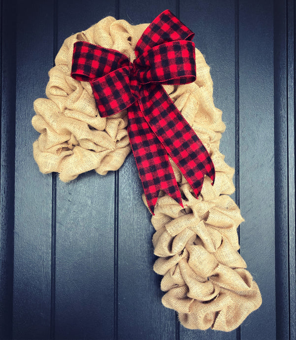 "24"" Burlap Buffalo Check Candy Cane"