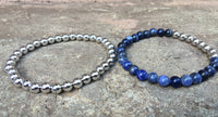 2 PC SET! Silver Beaded Metal + Blue Bracelets - Galaxy Accessories