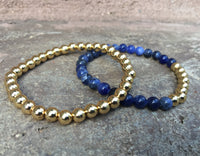 2 PC SET! Gold Beaded Metal + Blue Bracelets - Galaxy Accessories