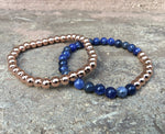 2 PC SET! Rose Gold Beaded Metal + Blue Bracelets - Galaxy Accessories