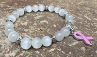 White & Pink Ribbon Breast Cancer Awareness Bracelet - Galaxy Accessories