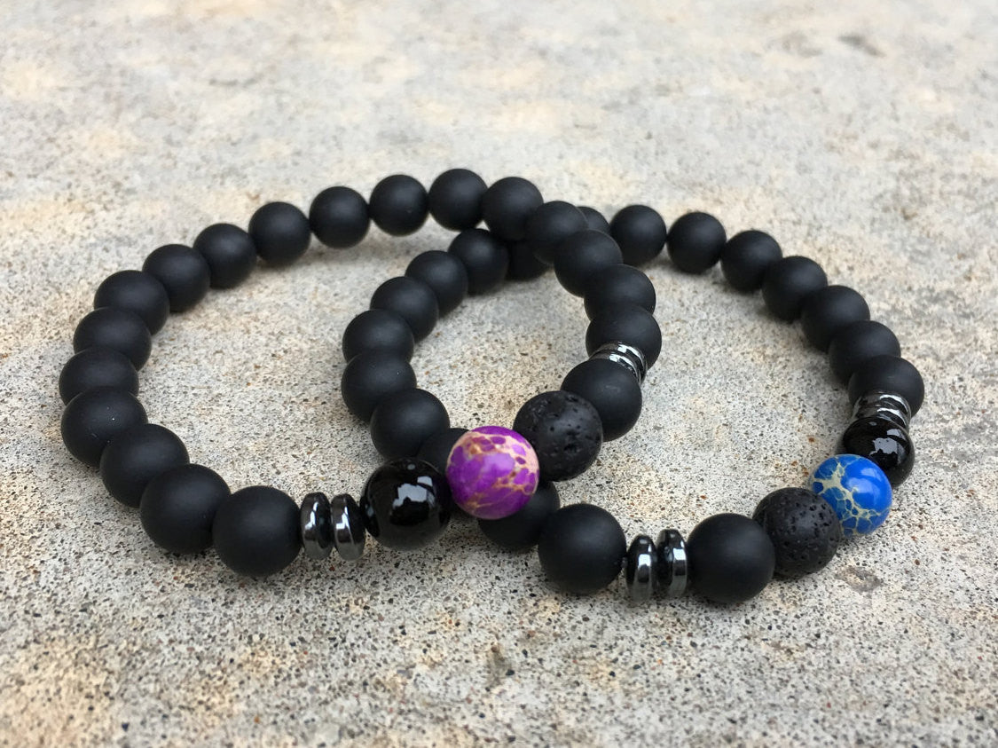 2 Pc Set Distance Bracelets Blue And Purple Free